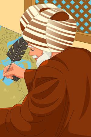 A vector illustration of Al-Idrisi Muslim Geographer
