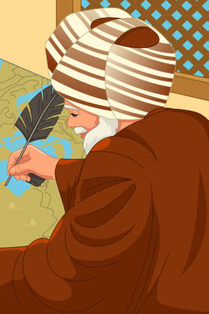 A vector illustration of Al-Idrisi Muslim Geographer