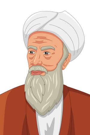 A vector illustration of Al-Razi Muslim Philosopher Illustration