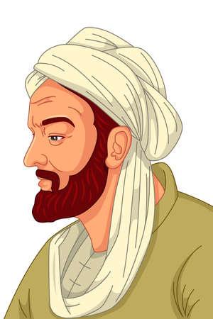 Un'illustrazione vettoriale del medico musulmano di Avicenna