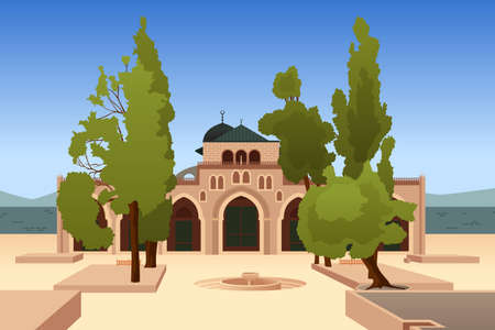 A vector illustration of Al-Aqsa Mosque in Jerusalem Ilustrace