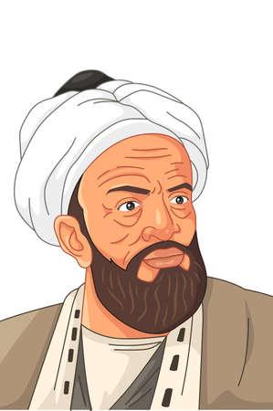 Una ilustración vectorial del erudito musulmán Al-Biruni