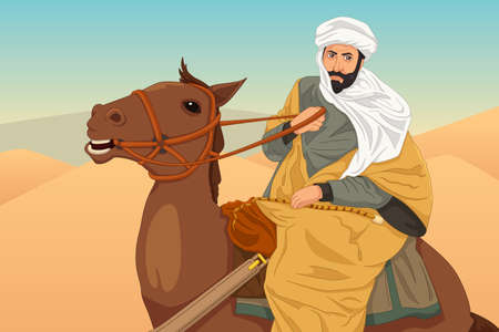 A vector illustration of Ibn Battuta Riding a Horse