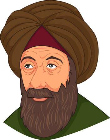 A vector illustration of Ibn al-Haitam Arabian Optician Illustration