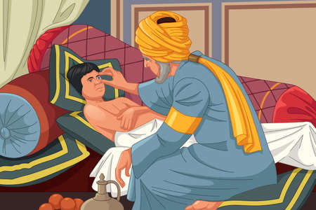 A vector illustration of Ibn al-Haitam Arabian Optician Checking on Patient Ilustracja