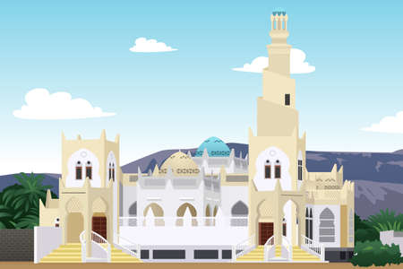 A vector illustration of Hadramaut Mosque in Yemen