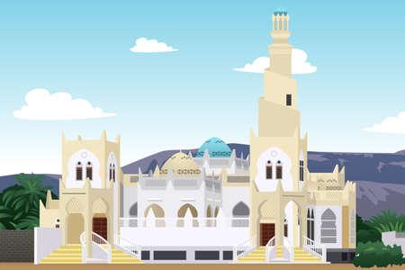 A vector illustration of Hadramaut Mosque in Yemen