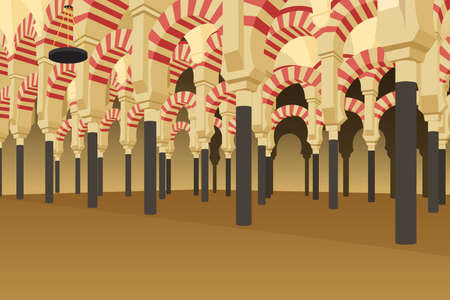 A vector illustration of Inside of Alhambra Palace in Spain