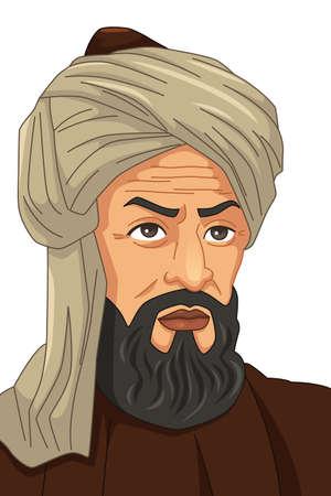 A vector illustration of Al-Khwarizmi Muslim Scholar
