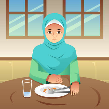 A vector illustration of Muslim Woman Finished Eating