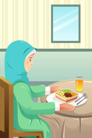 A vector illustration of Muslim Eating Meal at Home 向量圖像