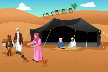 A vector illustration of People Living in the Desert