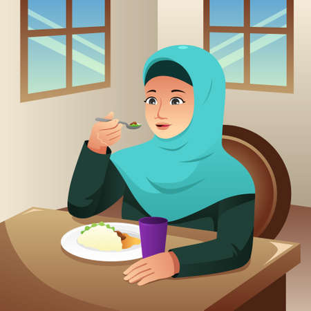 A vector illustration of Muslim Woman Eating Breakfast at Home 向量圖像
