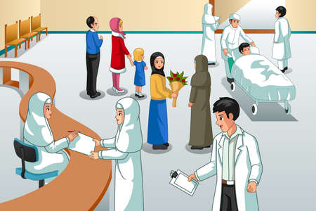 A vector illustration of Muslim Hospital Scene 向量圖像