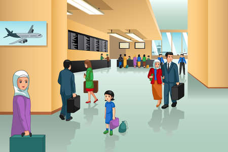 A vector illustration of Inside Airport Scene 向量圖像