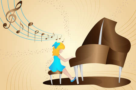 A vector illustration of Girl Playing Piano