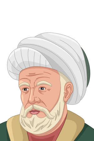 A vector illustration of Al-Farabi Muslim Philosopher