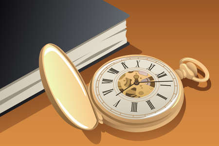 A vector illustration of Antique Gold Pocket Watch Vectores