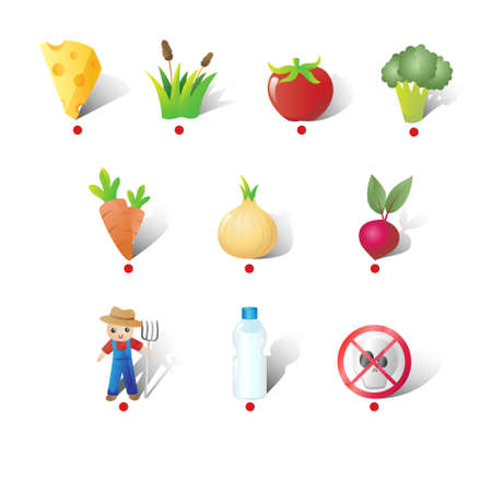 A vector illustration of Farm and Vegetables Icons