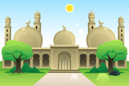 A vector illustration of Islamic Mosque at Noon