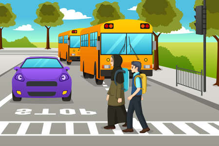 A vector illustration of Two Students Crossing the Street to Go to School