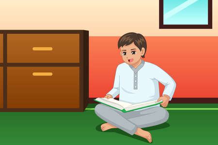 A vector illustration of Boy Reading Book at Home