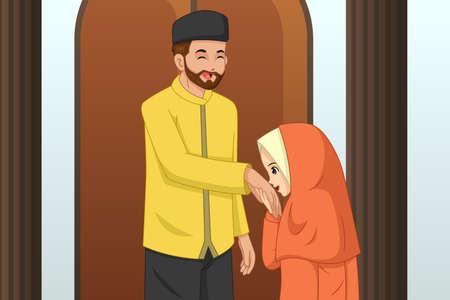 Eine Vektorillustration eines muslimischen Mädchens, das ihre Vaterhand küsst