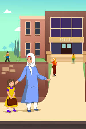 A vector illustration of Muslim Mother with her Daughter in School Illustration