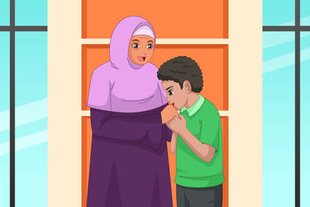A vector illustration of Muslim Boy Kissing Her Mother Hand