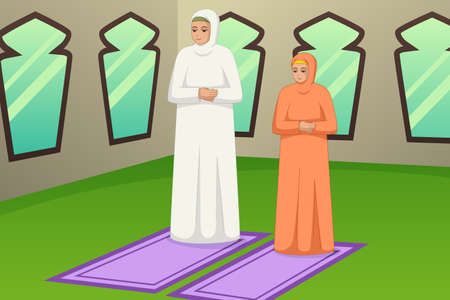 A vector illustration of Muslim Mother and Daughter Praying at Mosque 向量圖像