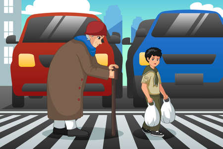 A vector illustration of Boy Helping Old Lady Crossing Street 向量圖像
