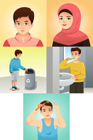 A vector illustration of Muslim Kids Doing Activities