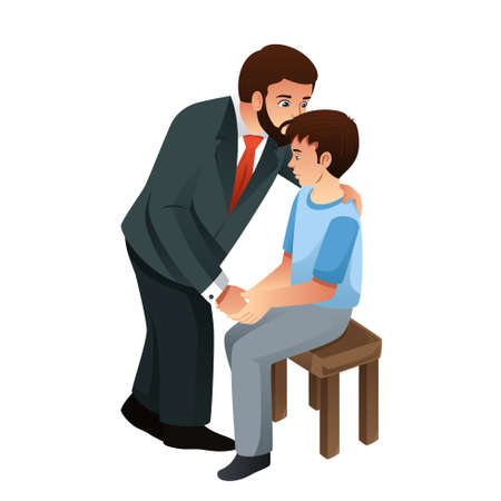A vector illustration of Muslim Father Kissing His Son