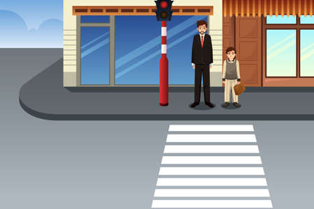 A vector illustration of Father and Son Waiting at Traffic Light