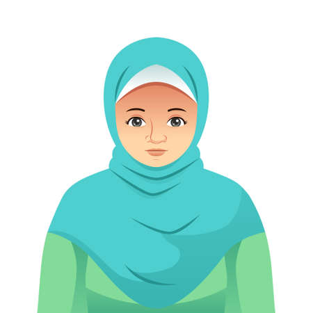 A vector illustration of Portrait of Beautiful Muslim Woman
