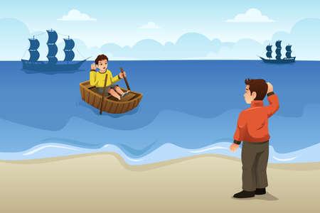 Un vecteur illustration de deux amis disant au revoir