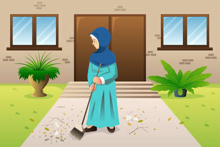A vector illustration of Muslim Woman Sweeping the Trash Stock Illustratie