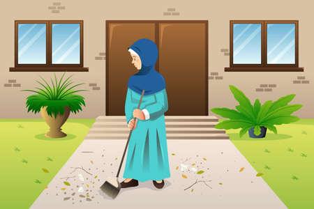 A vector illustration of Muslim Woman Sweeping the Trash Иллюстрация