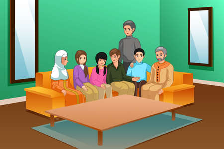 A vector illustration of Family at Home