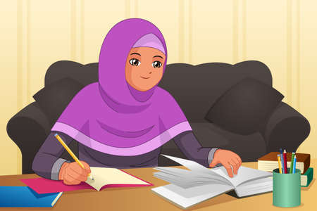 A vector illustration of Muslim Girl Doing Homework at Home
