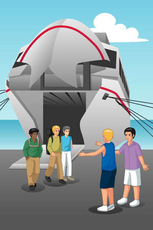 A vector illustration of Young Men Coming Out from the Ferry 向量圖像