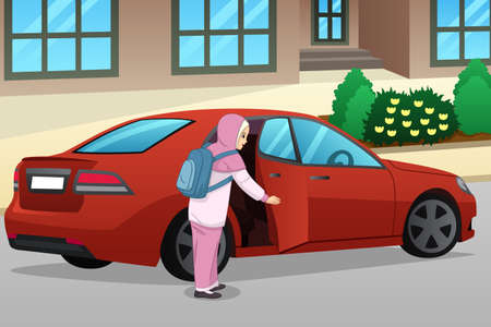 A vector illustration of Muslim Girl Entering a Car