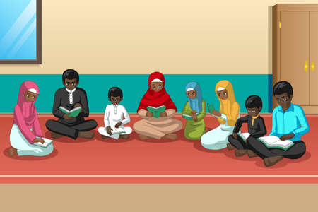 A vector illustration of Muslim African Family Studying Quran Together