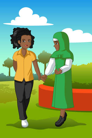 A vector illustration of Two Teenagers in a Park Illustration