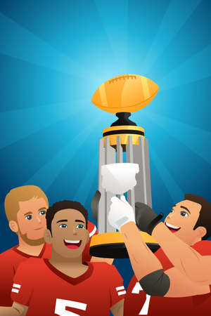 A vector illustration of Football Kids Team Lifting Trophy