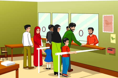 Un vecteur illustration de personnes au bureau de poste