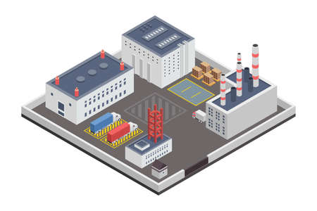 A vector illustration of Industry Plants Factory Isometric