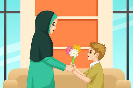 A vector illustration of Muslim Boy Giving Flower to His Mother