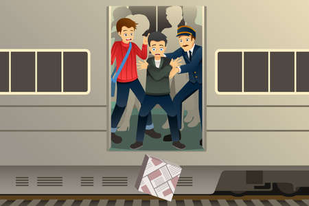 A vector illustration of Passenger Drop a Package from the Train Illustration