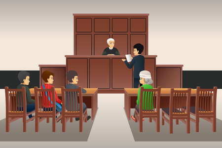 A vector illustration of Courtroom Scene Illustration
